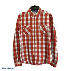 Cactus Red Plaid Pearl Snap Western Shirt Size L
